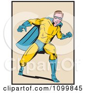 Clipart Retro Pop Art Super Hero Man In A Punching Stance Royalty Free Vector Illustration by brushingup