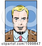 Clipart Retro Blond Pop Art Businessman Smiling Royalty Free Vector Illustration by brushingup