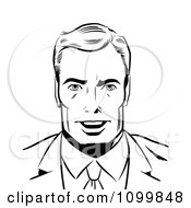 Clipart Retro Black And White Pop Art Businessman Smiling Royalty Free Vector Illustration by brushingup