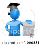 Clipart 3d Blue Graduate Presenting A Diploma Royalty Free CGI Illustration