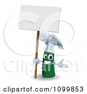 3d Happy Green And Silver Hammer Mascot Holding A Sign