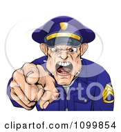 Clipart Mad Police Officer Spitting Shouting And Pointing Outwards Royalty Free Vector Illustration by AtStockIllustration