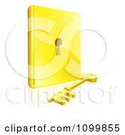 Clipart 3d Gold Skeleton Key Resting In Front Of A Book With A Keyhole In The Center Royalty Free Vector Illustration