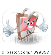 Clipart 3d Happy Desk Calendar Holding Two Thumbs Up Royalty Free Vector Illustration