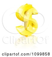 Clipart 3d Sparkling Gold USD Dollar Currency Symbol Royalty Free Vector Illustration