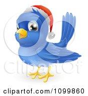 Clipart Happy Cute Christmas Bluebird Wearing A Santa Hat Royalty Free Vector Illustration