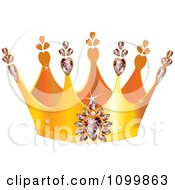 Clipart Golden Queens Crown With Diamond Hearts Royalty Free Vector Illustration by Pushkin