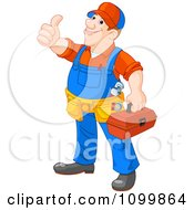 Clipart Happy Plumber Carrying A Tool Box And Holding A Thumb Up Royalty Free Vector Illustration by Pushkin