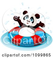 Clipart Happy Panda Swimming With An Inner Tube Royalty Free Vector Illustration