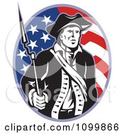 Clipart American Revolutionary Soldier Patriot Minuteman With A Musket Bayonet Rifle Over A Stars And Stripes Flag Oval Royalty Free Vector Illustration by patrimonio #COLLC1099866-0113