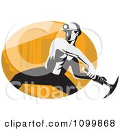 Retro Coal Miner Swinging A Pick Ax Over An Oval