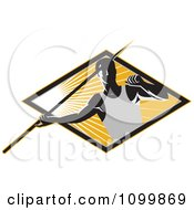 Clipart Retro Track And Field Javelin Trower Holding A Spear Over A Ray Diamond Royalty Free Vector Illustration by patrimonio