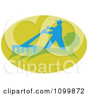 Clipart Raking Silhouetted Farmer Gardner Or Landscaper In A Green Oval Royalty Free Vector Illustration