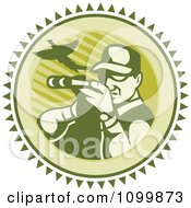 Clipart Retro Pheasant Hunter Aiming His Rifle On A Green Circle Royalty Free Vector Illustration