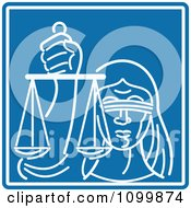 Clipart White Blind Lady Justice Holding Scales Over Blue Royalty Free Vector Illustration