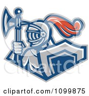Retro Knight With A Spear Ax And Shield