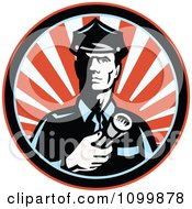 Clipart Retro Police Man Or Security Guard Shining A Flashlight Over A Circle Of Red Rays Royalty Free Vector Illustration