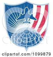 Clipart Retro Styled Airplane Over A Grid Globe With Sunshine And An American Shield Royalty Free Vector Illustration