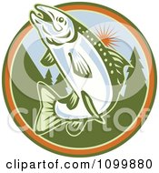 Clipart Retro Jumping Trout Fish Against A Tree And Sun Circle Royalty Free Vector Illustration
