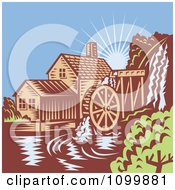 Clipart Retro Watermill Wheel Mill House On A River Royalty Free Vector Illustration by patrimonio