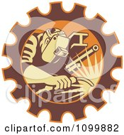 Clipart Retro Fabricator Welder Working In A Gear Cog Royalty Free Vector Illustration