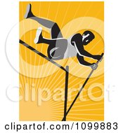 Clipart Retro Pole Vault High Jump Athlete Over Orange Rays Royalty Free Vector Illustration