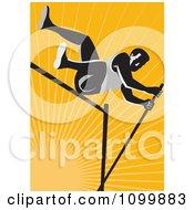 Retro Pole Vault High Jump Athlete Over Orange Rays
