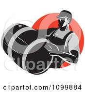 Clipart Retro Wine Maker Vitner Carrying A Barrel Over A Red Circle Royalty Free Vector Illustration