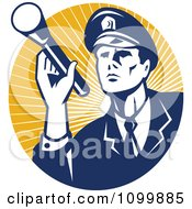 Clipart Retro Police Officer Or Security Guard Shining A Flashlight Over A Circle Of Orange Rays Royalty Free Vector Illustration