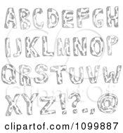 Clipart Black And White Sketched Capital Letters With Spots And Punctuation Royalty Free Vector Illustration