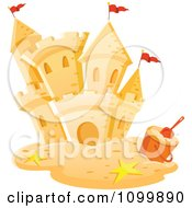 Clipart Sand Castle With Stars A Pail And Red Flags Royalty Free Vector Illustration