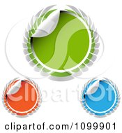 Clipart Green Blue And Orange Winged Round Sticker Labels Royalty Free Vector Illustration by creativeapril