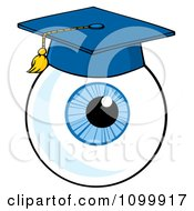 Clipart Blue Eyeball Wearing A Graduation Cap Royalty Free Vector Illustration by Hit Toon