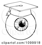 Clipart Black And White Eyeball Wearing A Graduation Cap Royalty Free Vector Illustration by Hit Toon