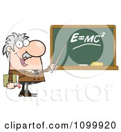 Clipart Happy Caucasian Science Professor Discussing Mass Energy Equivalence Physics Royalty Free Vector Illustration by Hit Toon