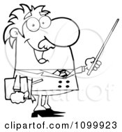 Clipart Happy Black And White Professor Using A Pointer Stick Royalty Free Vector Illustration