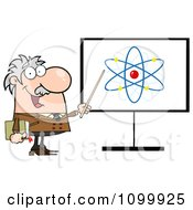 Clipart Happy Caucasian Professor Discussing An Atom Diagram Royalty Free Vector Illustration
