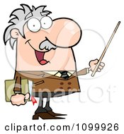 Clipart Happy Caucasian Professor Using A Pointer Stick Royalty Free Vector Illustration