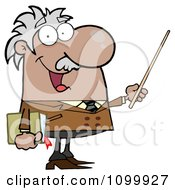 Clipart Happy Black Or Hispanic Professor Using A Pointer Stick Royalty Free Vector Illustration by Hit Toon
