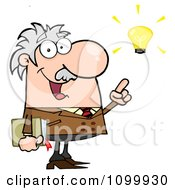 Happy Caucasian Professor With A Bright Idea by Hit Toon