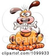 Clipart Happy Spotted Dog Sitting With A Bone In His Mouth Royalty Free Vector Illustration by Zooco