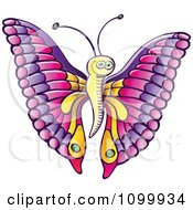Clipart Happy Butterfly With Pink And Purple Wings And A Yellow Body Royalty Free Vector Illustration by Zooco