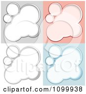 Clipart Silver Outlind Bubbles Or Clouds On Different Colored Backgrounds Royalty Free Vector Illustration by dero
