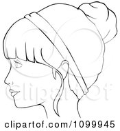 Clipart Outlined Profiled Woman With A Head Band And Her Hair Up In A Bun Royalty Free Vector Illustration