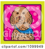 Folk Art Styled Cockapoo Dog Looking Out Through A Yellow Frame With A Pink Background