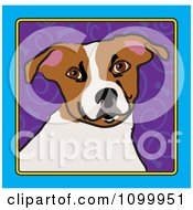 Folk Art Styled Jack Russell Terrier Dog Looking Out Through A Blue Frame With A Purple Spiral Background