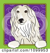 Folk Art Styled Afghan Hound Dog Looking Out Through A Green Frame With A Purple Spiral Background