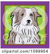 Folk Art Styled Australian Shepherd Dog Looking Out Through A Purple Frame With A Green Dot Background