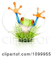 Clipart Surprise Frog Jumping Through Grass Royalty Free Vector Illustration