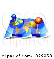 Clipart 3d Foldable Blue And Gold Atlas World Map With Pins Royalty Free Vector Illustration by Oligo